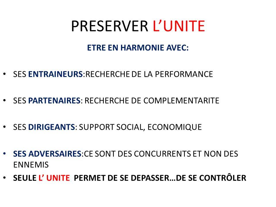 PRESERVER L'UNITE ETRE EN HARMONIE AVEC: