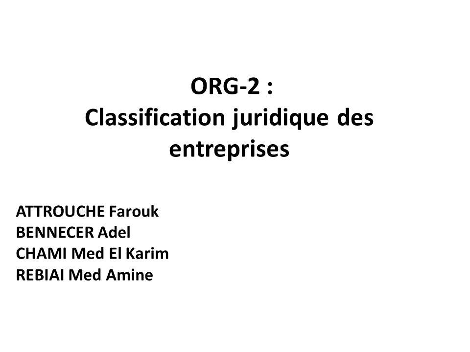 ORG-2 : Classification juridique des entreprises