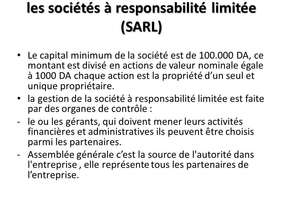 les sociétés à responsabilité limitée (SARL)