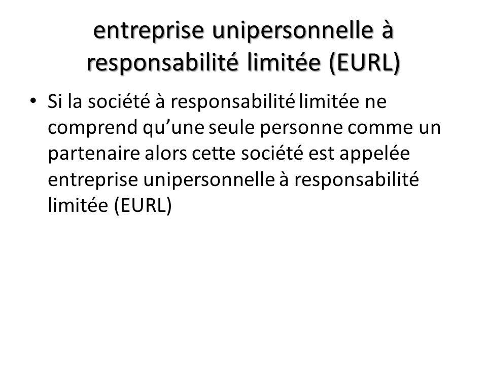 entreprise unipersonnelle à responsabilité limitée (EURL)