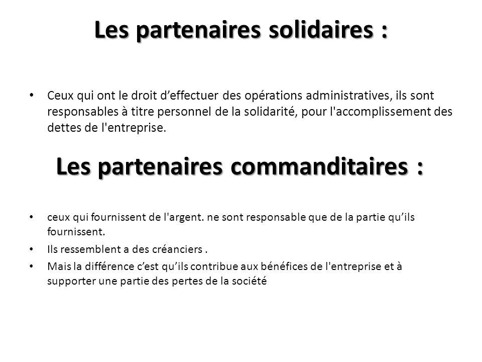 Les partenaires solidaires :