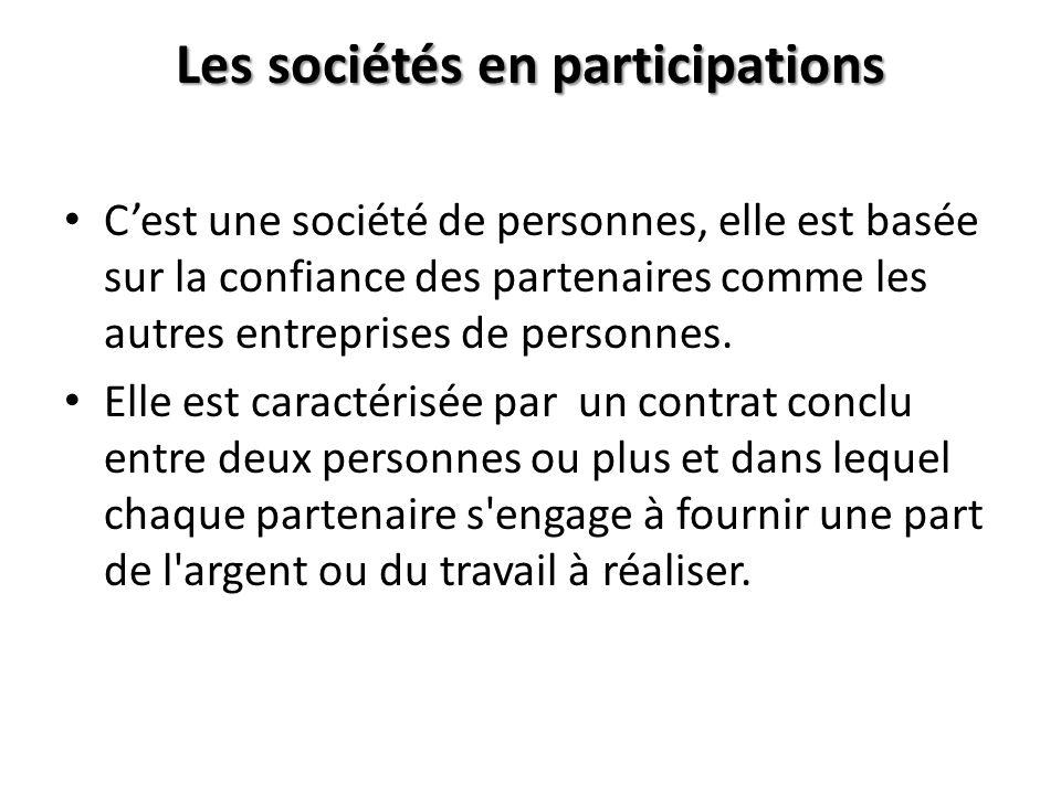 Les sociétés en participations