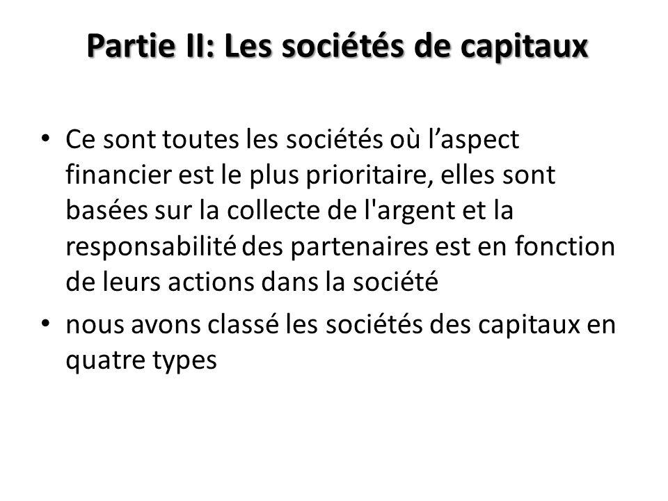 Partie II: Les sociétés de capitaux