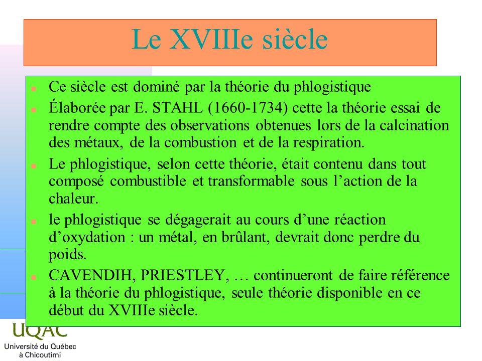 Le XVIIIe siècle Ce siècle est dominé par la théorie du phlogistique