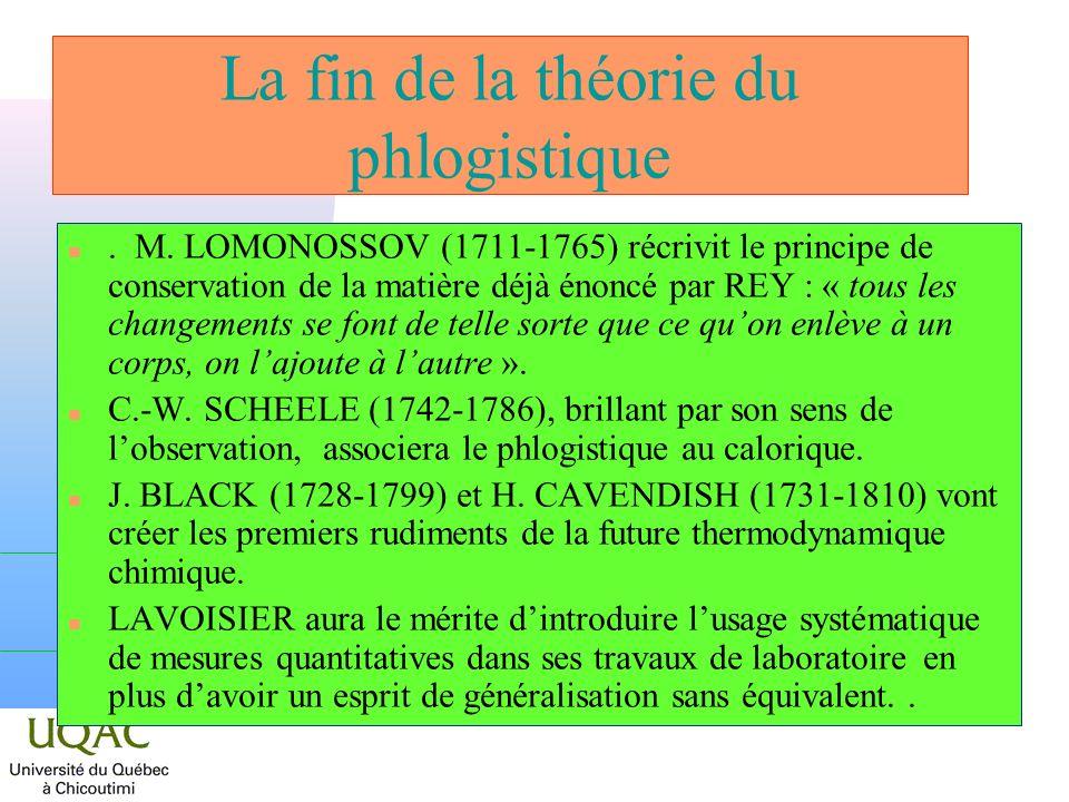 La fin de la théorie du phlogistique