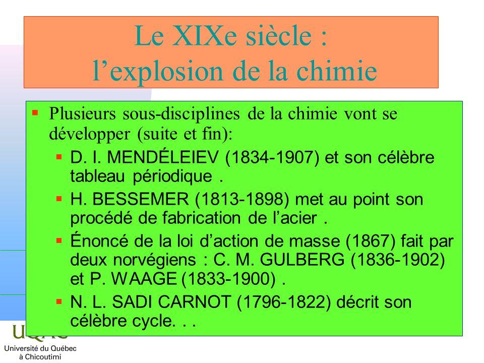 Le XIXe siècle : l'explosion de la chimie