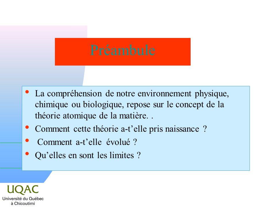 Préambule La compréhension de notre environnement physique, chimique ou biologique, repose sur le concept de la théorie atomique de la matière. .