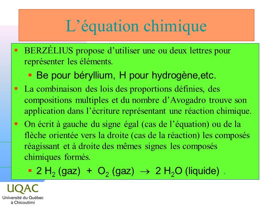 L'équation chimique Be pour béryllium, H pour hydrogène,etc.