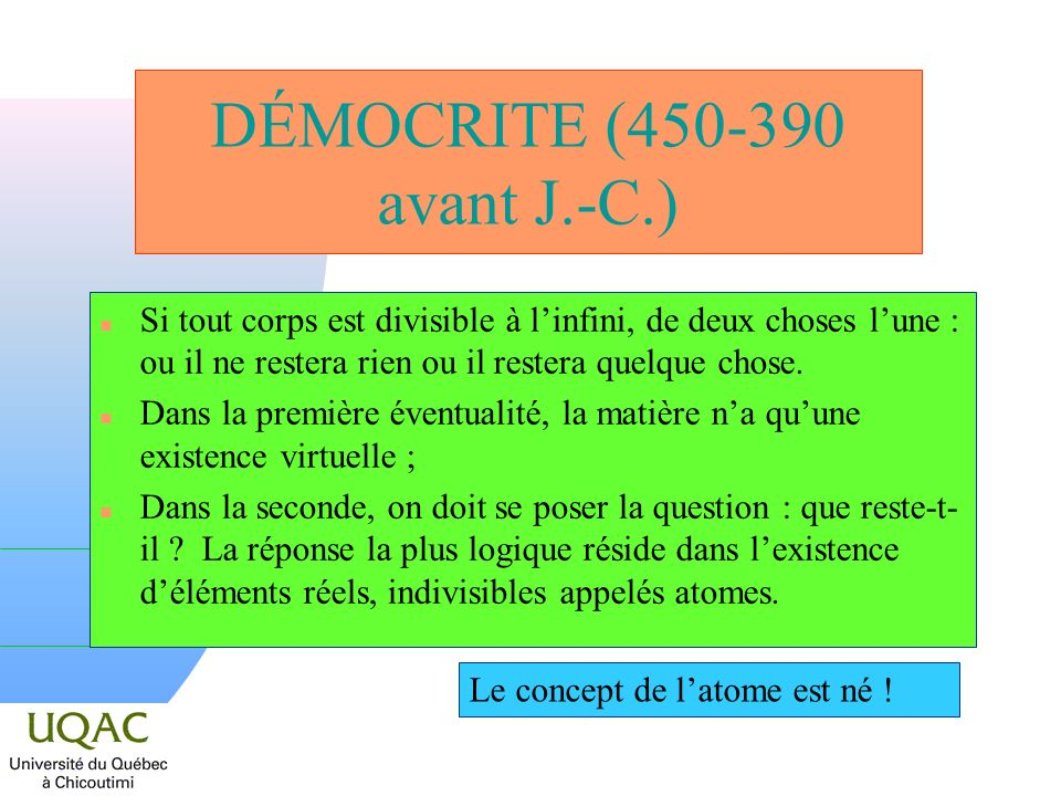 DÉMOCRITE (450-390 avant J.-C.)
