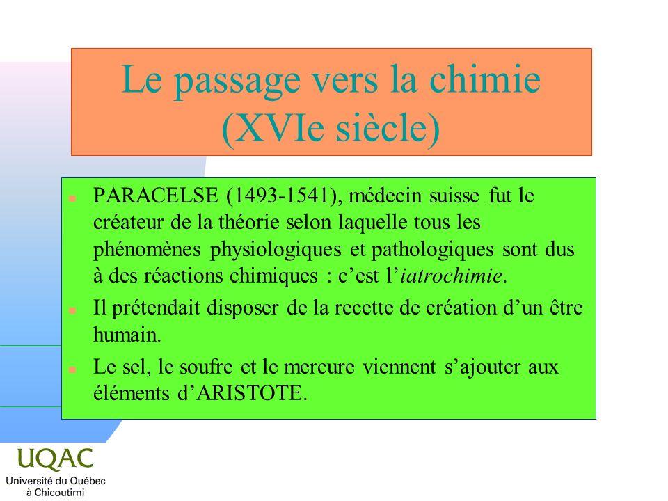 Le passage vers la chimie (XVIe siècle)