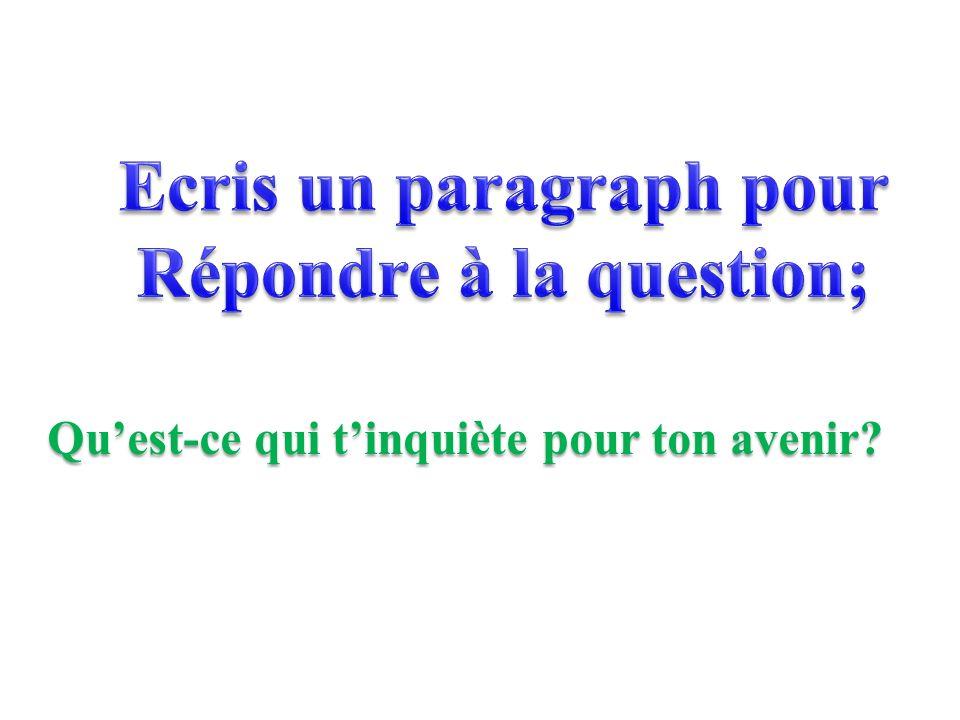 Ecris un paragraph pour Répondre à la question;