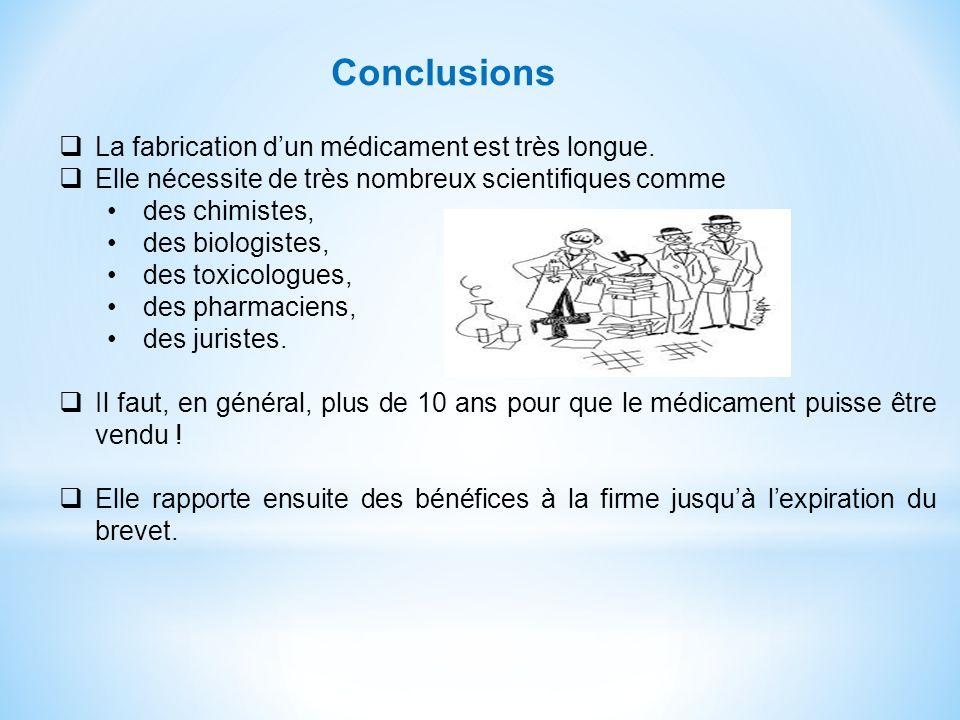 Conclusions La fabrication d'un médicament est très longue.