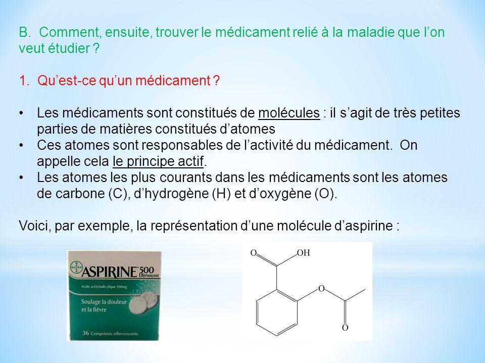 B. Comment, ensuite, trouver le médicament relié à la maladie que l'on veut étudier