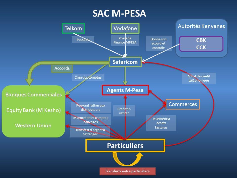 SAC M-PESA Particuliers Autorités Kenyanes Telkom Vodafone CBK CCK