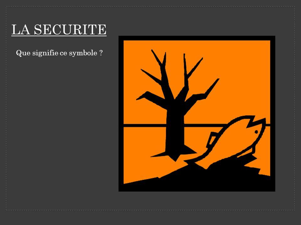 LA SECURITE Que signifie ce symbole