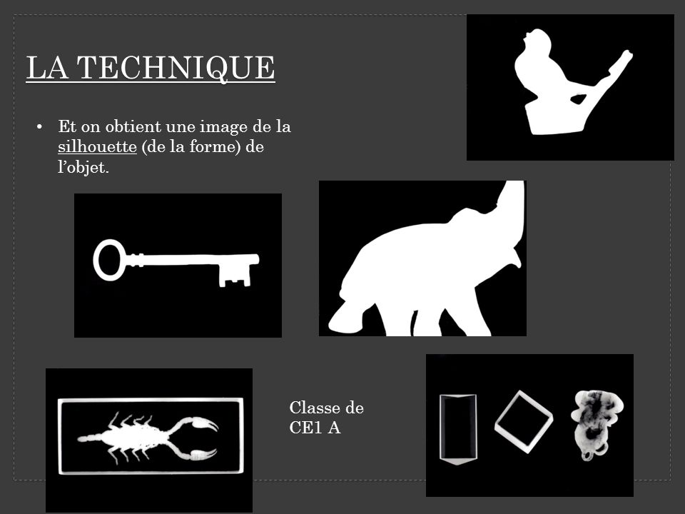 LA TECHNIQUE Et on obtient une image de la silhouette (de la forme) de l'objet. Classe de CE1 A