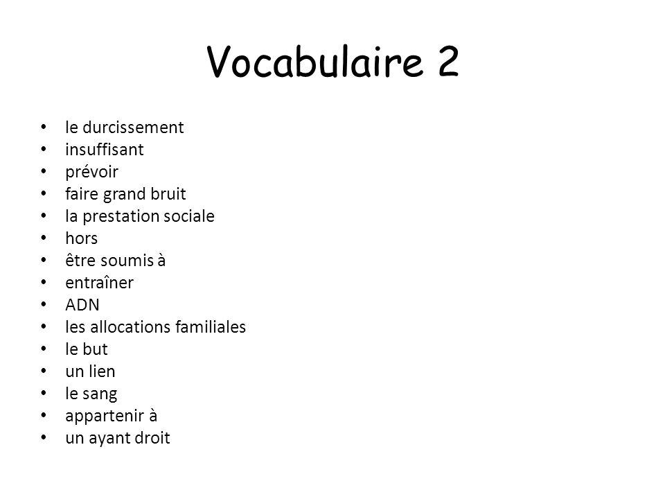 Vocabulaire 2 le durcissement insuffisant prévoir faire grand bruit