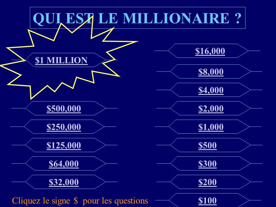 QUI EST LE MILLIONAIRE $16,000 $1 MILLION $8,000 $4,000 $500,000