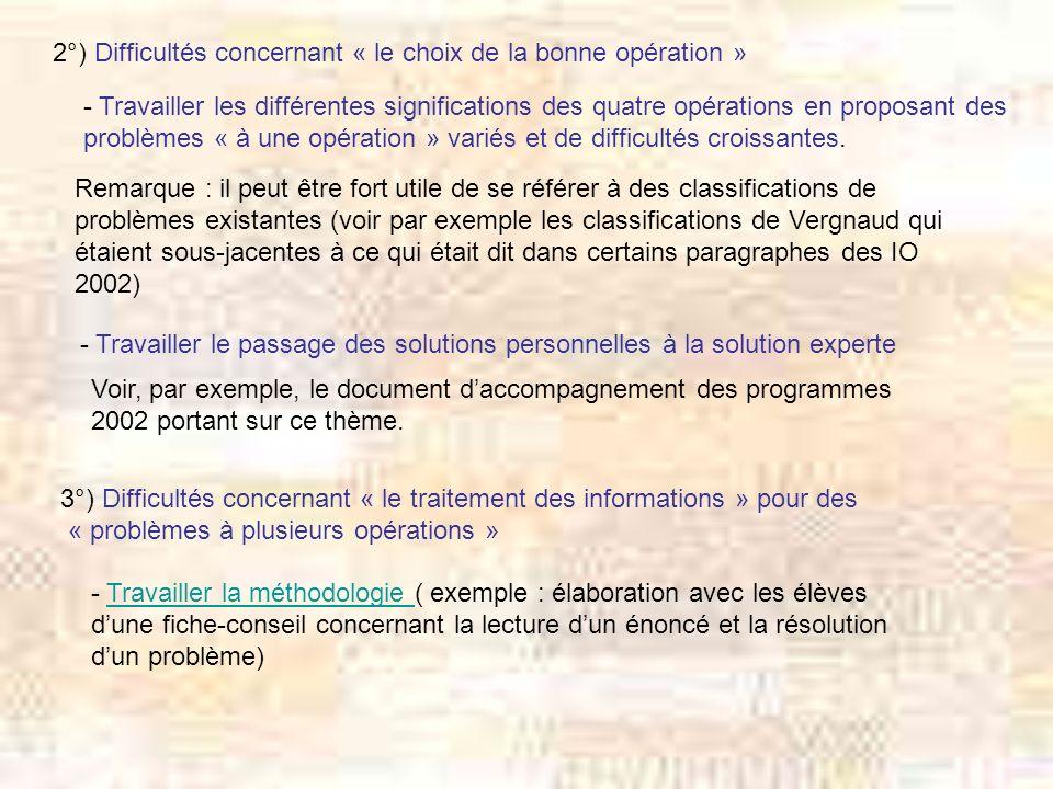 2°) Difficultés concernant « le choix de la bonne opération »
