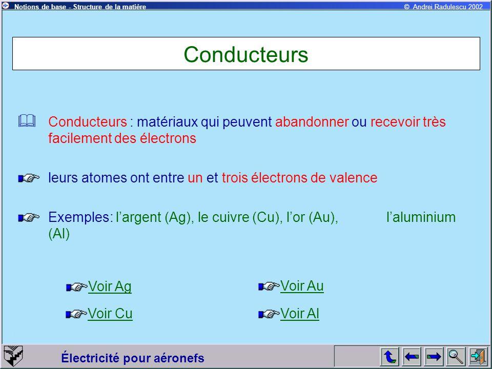 Conducteurs Conducteurs : matériaux qui peuvent abandonner ou recevoir très facilement des électrons.