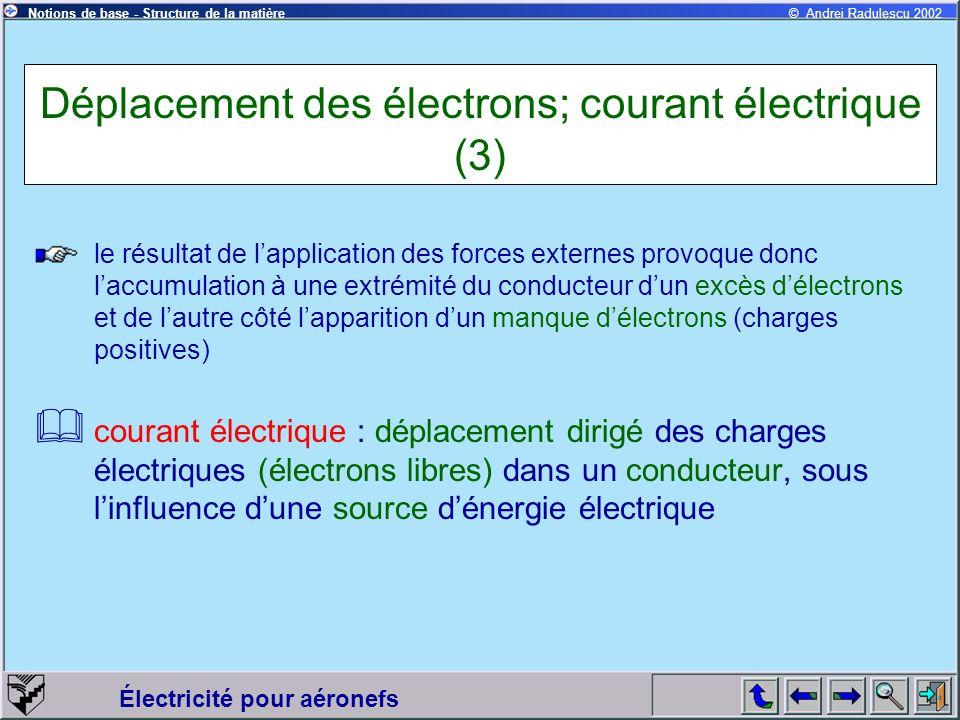Déplacement des électrons; courant électrique (3)
