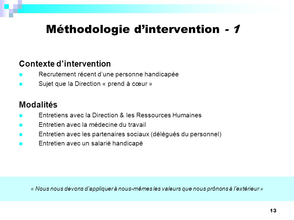 Méthodologie d'intervention - 1