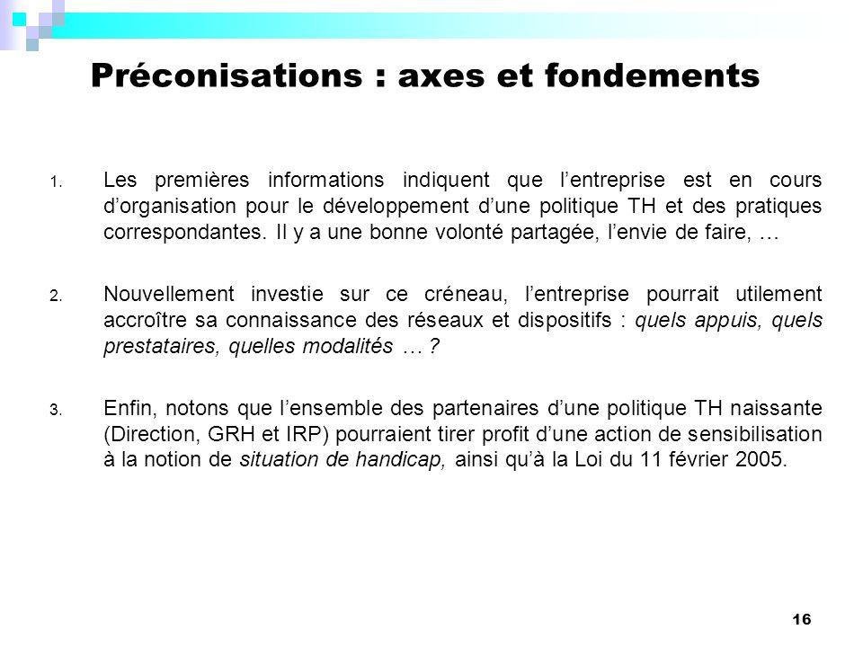 Préconisations : axes et fondements