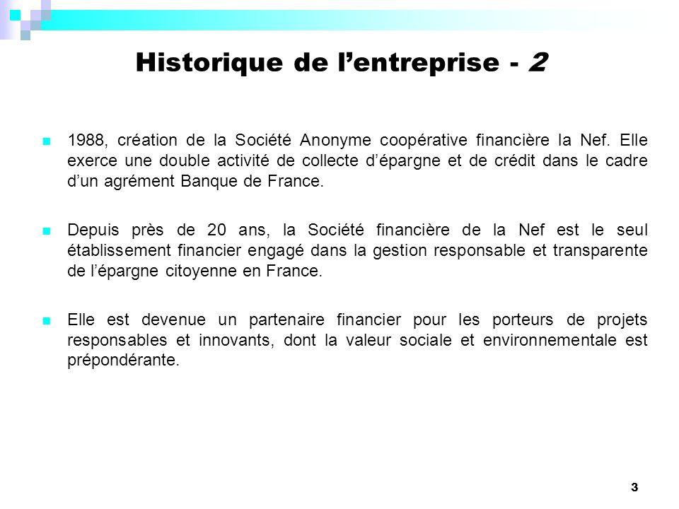 Historique de l'entreprise - 2