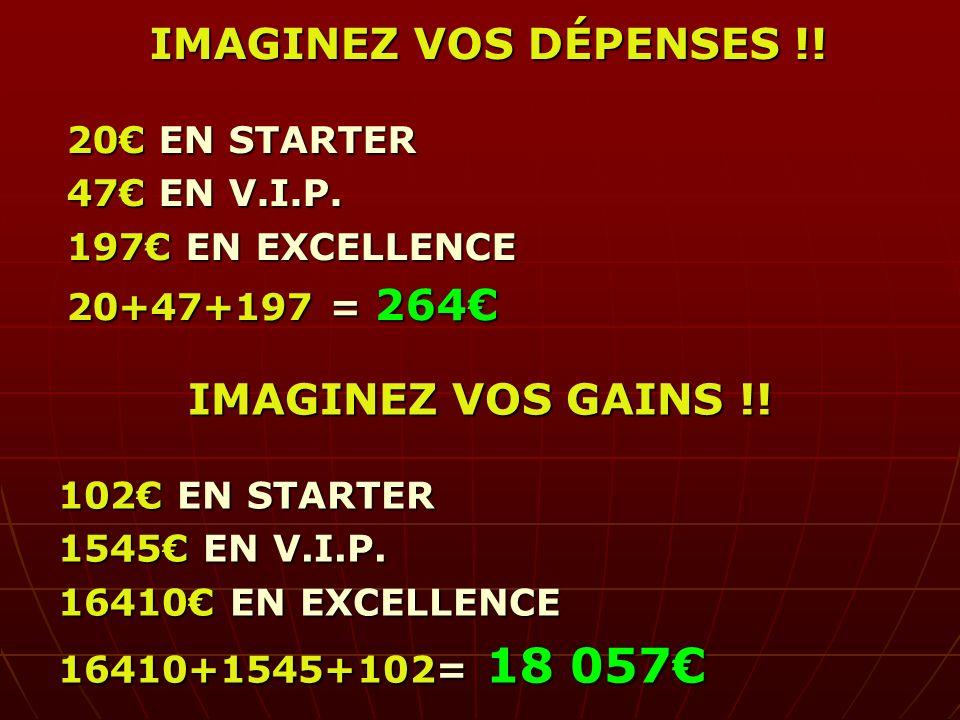 IMAGINEZ VOS DÉPENSES !! IMAGINEZ VOS GAINS !!