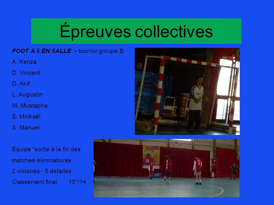 Épreuves collectives FOOT A 5 EN SALLE - tournoi groupe B A. Kenza