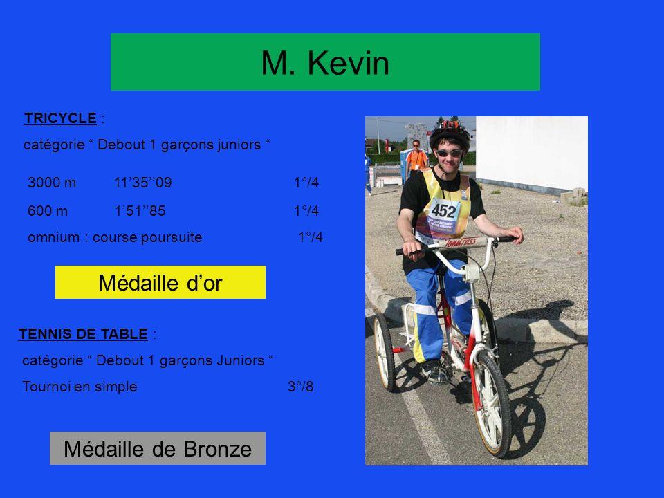 M. Kevin Médaille d'or Médaille de Bronze TRICYCLE :
