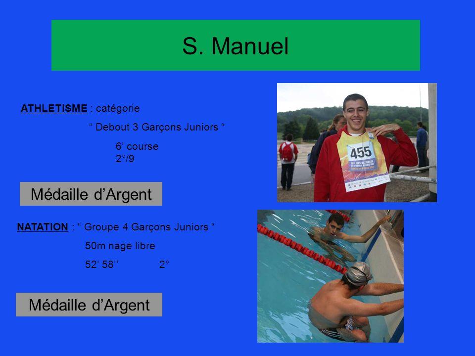 S. Manuel Médaille d'Argent Médaille d'Argent ATHLETISME : catégorie