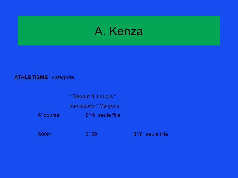 A. Kenza ATHLETISME : catégorie Debout 3 Juniors