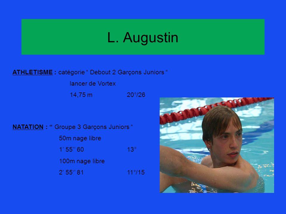 L. Augustin ATHLETISME : catégorie Debout 2 Garçons Juniors