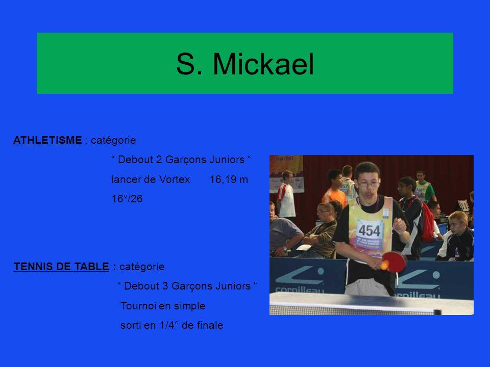 S. Mickael ATHLETISME : catégorie Debout 2 Garçons Juniors