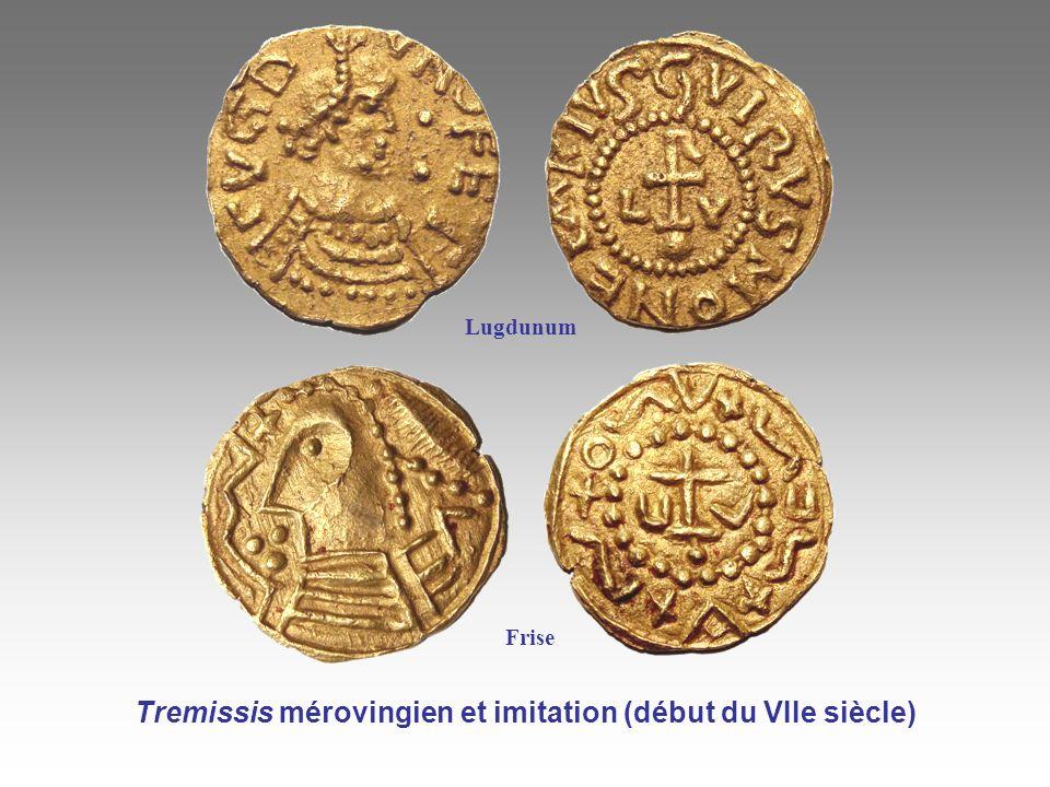 Tremissis mérovingien et imitation (début du VIIe siècle)