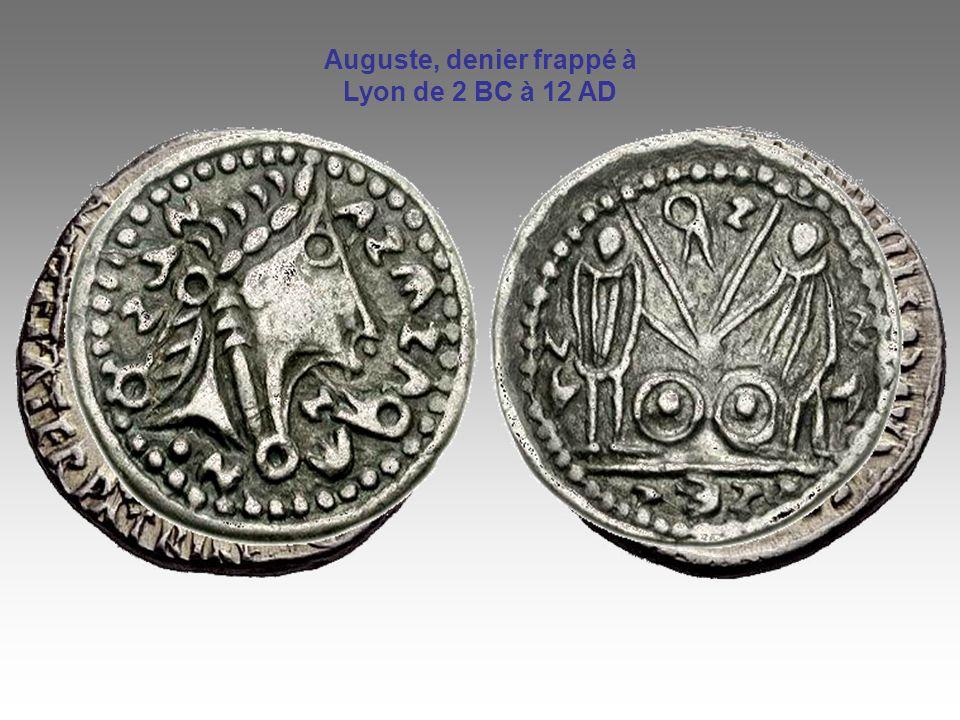 Auguste, denier frappé à Lyon de 2 BC à 12 AD