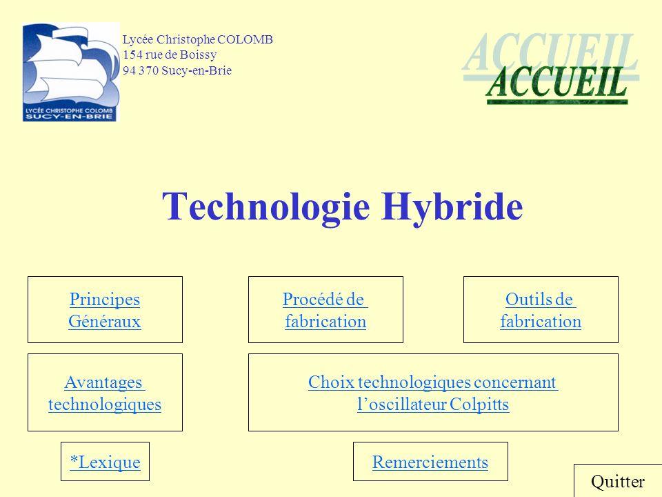 Technologie Hybride ACCUEIL Principes Généraux Procédé de fabrication