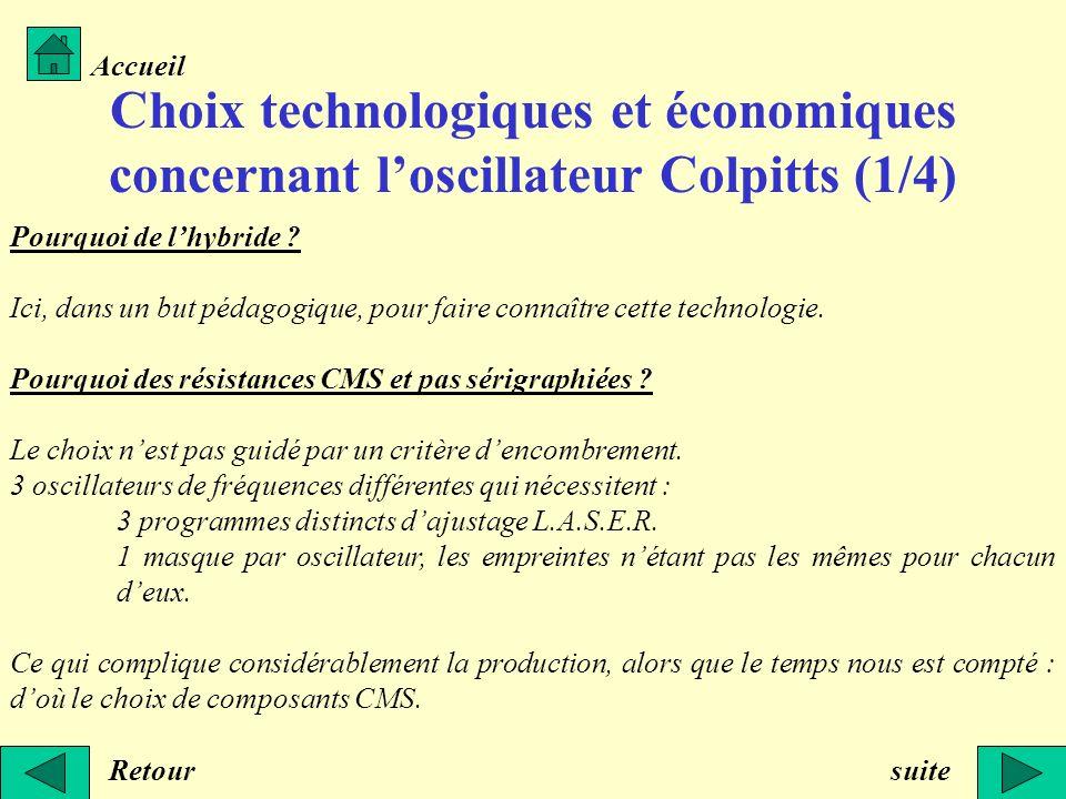 Accueil Choix technologiques et économiques concernant l'oscillateur Colpitts (1/4) Pourquoi de l'hybride