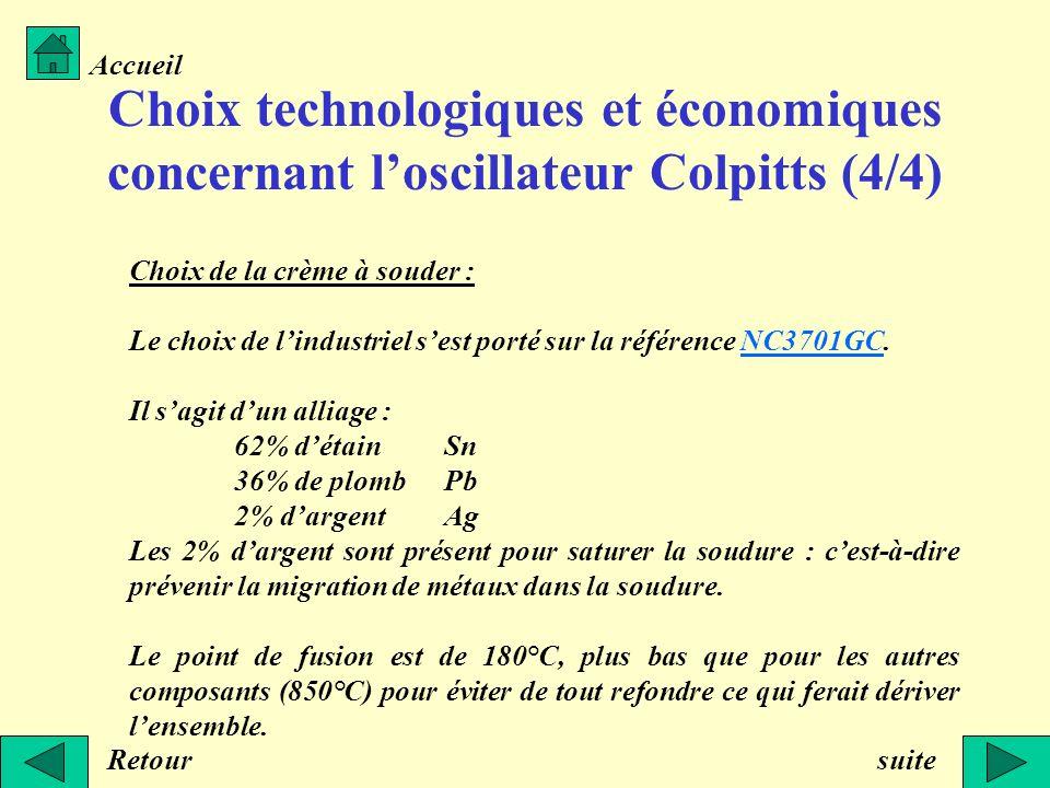Accueil Choix technologiques et économiques concernant l'oscillateur Colpitts (4/4) Choix de la crème à souder :
