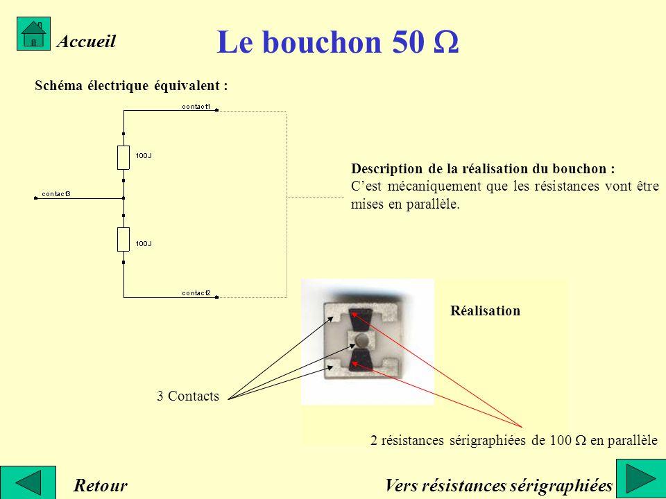 Le bouchon 50 W Accueil Accueil Retour Vers résistances sérigraphiées