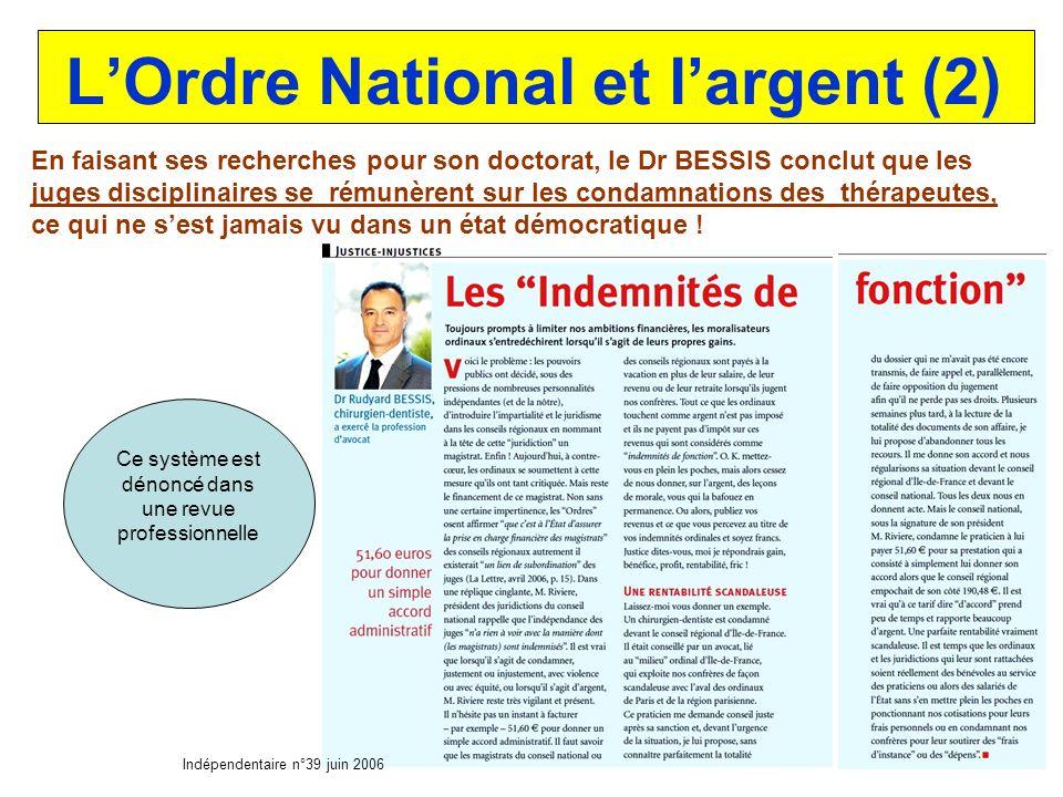 L'Ordre National et l'argent (2)