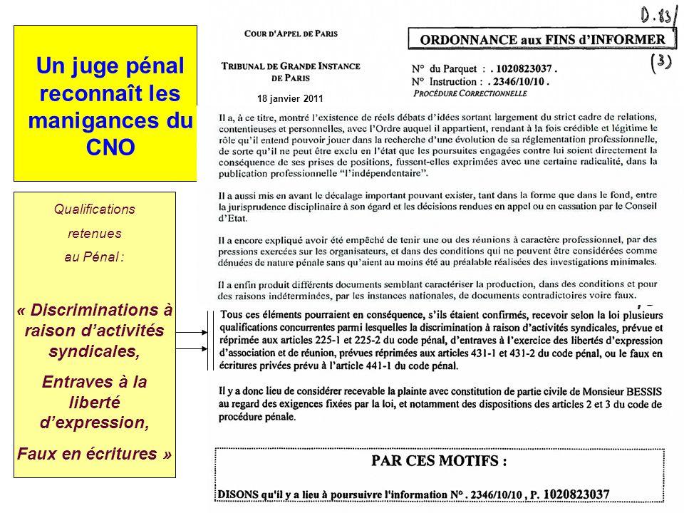 Un juge pénal reconnaît les manigances du CNO