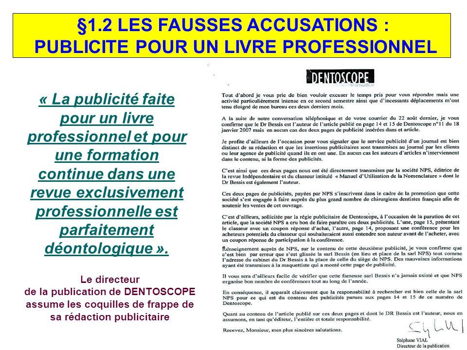 §1.2 LES FAUSSES ACCUSATIONS : PUBLICITE POUR UN LIVRE PROFESSIONNEL