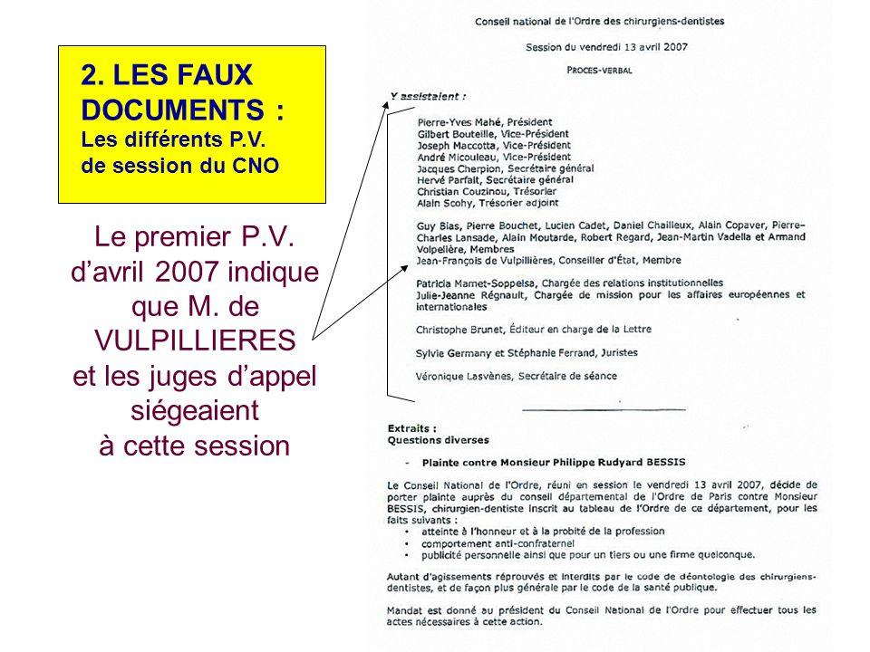 2. LES FAUX DOCUMENTS : Les différents P.V.