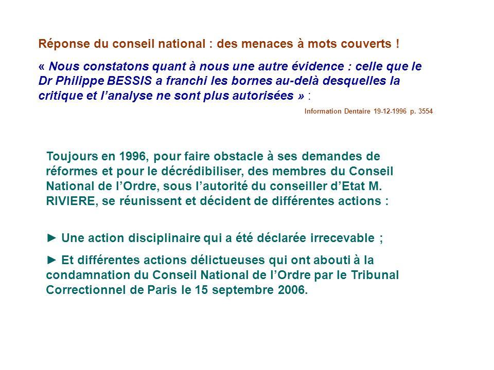 Réponse du conseil national : des menaces à mots couverts !