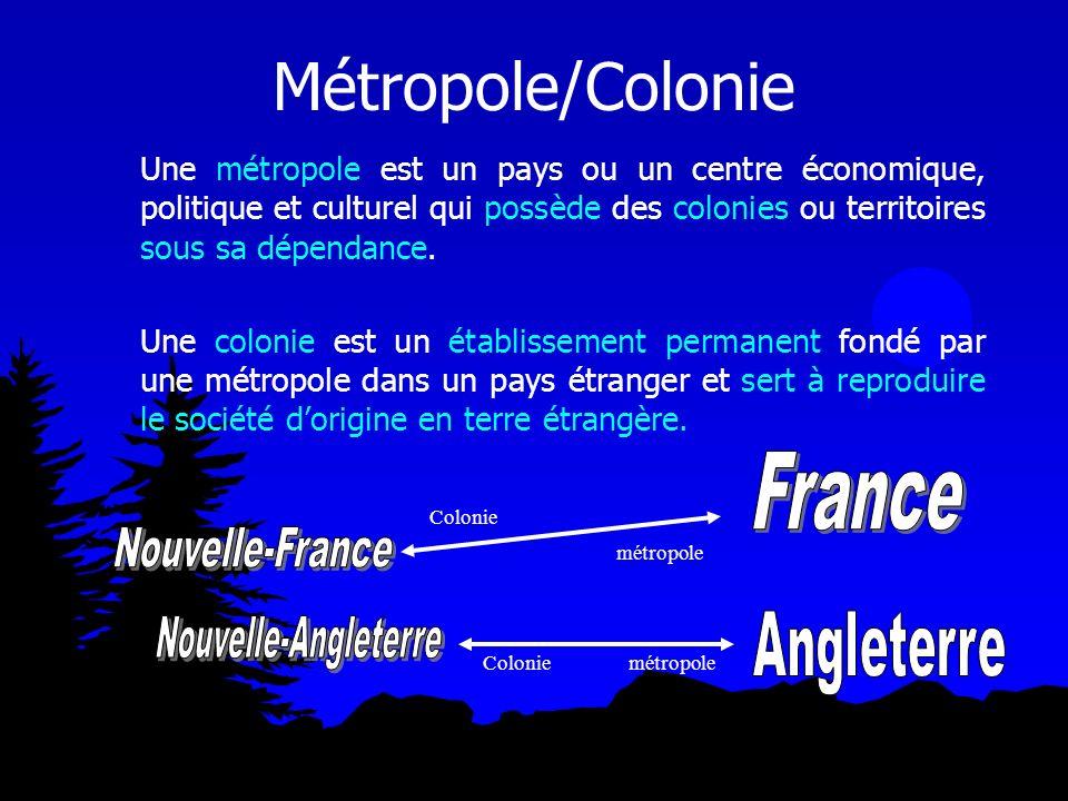 Métropole/Colonie France Nouvelle-France Nouvelle-Angleterre