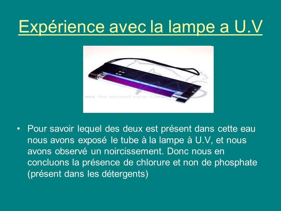 Expérience avec la lampe a U.V
