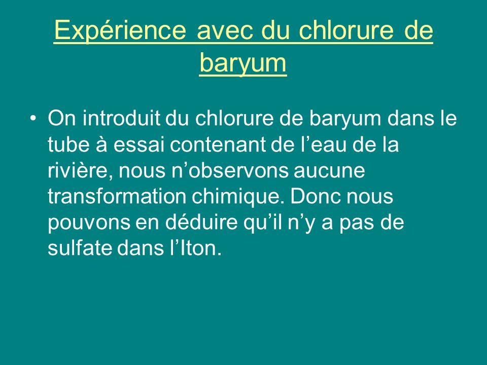 Expérience avec du chlorure de baryum