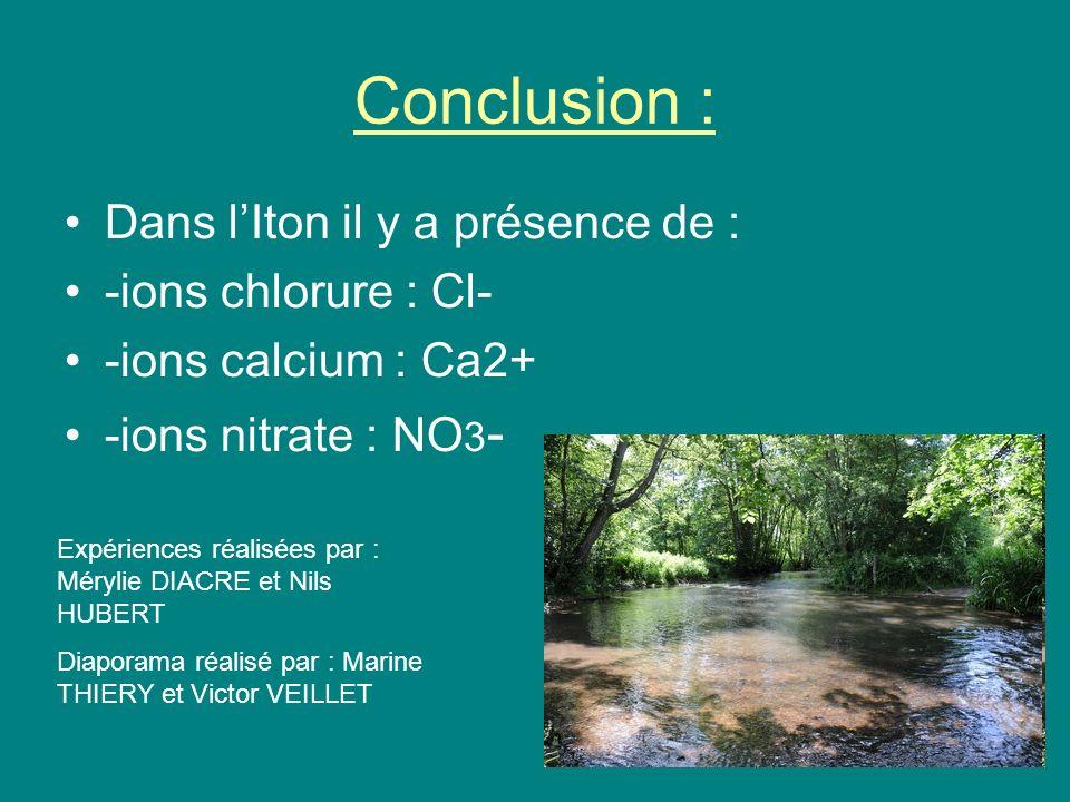 Conclusion : Dans l'Iton il y a présence de : -ions chlorure : Cl-